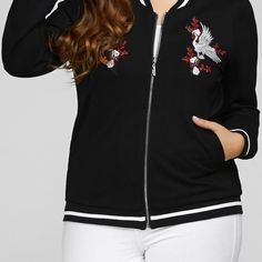 Plus Size Embroidered Embellished Bomber Jackets  $48.00    Specification  Color: BLACK  Size: XL, 2XL, 3XL, 4XL, 5XL  Category: Women > Plus Size > Outerwear     Clothes Type: Jackets  Material: Cotton,Spandex  Type: Slim  Clothing Length: Regular  Sleeve Length: Full  Collar: Stand-Up Collar  Closure Type: Zipper  Pattern Type: Others  Embellishment: Embroidery  Style: Casual  Season: Fall,Spring  With Belt: No  Weight: 0.650kg  Package Contents: 1 x Jacket