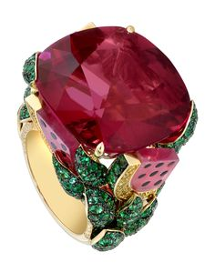 """Limelight """"Watermelon Dream"""" cocktail inspiration ring in 18K yellow gold, set with a cushion-cut rubellite, 280 brilliant-cut emeralds, 4 rubellite balls, 34 brilliant-cut yellow diamonds and 45 brilliant-cut diamonds"""
