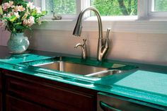 Kitchen Glass Countertops Kitchen Glass Countertop Practical Glass Solutions Cbd Glass, Glass Kitchen Countertop White Onyx Look Cbd Glass, Glass Kitchen Countertops Pros Cons Thediapercake Home Trend, Recycled Glass Countertops, Kitchen Countertop Materials, Cabinets And Countertops, Concrete Countertops, Green Countertops, Oak Cabinets, Kitchen Worktops, Decorating Kitchen, Sweet Home