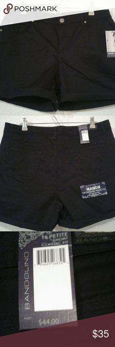 Shorts/Plus Shorts,Black,Rolled Cuff Bandolino Shorts Jean Shorts