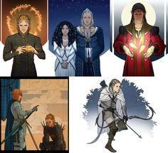 Silmarillion compilation by *Gerwell on deviantART - From left to right: Sauron, Varda and Manwe, Feanor, Eonwe and Sauron, Beleg