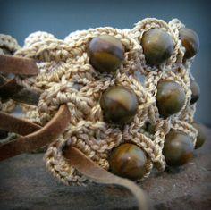 Crochet Jewelry Bohemian Bracelet or Cuff Earthy by GlowCreek, $30.00