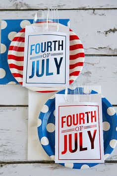 Minc Foiled 4th of July Utensil Holders