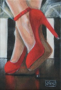 Contemporary paintings by artist Jacqui Faye specializing in figurative works in acrylics on canvas. Best known for her Red Shoe Dailies and Red Shoe art series. Art Painting Gallery, Artist Painting, Shoe Painting, Decoupage, Gcse Art Sketchbook, Cross Stitch Bird, Shoe Art, Painted Shoes, Paint Party