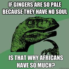 if gingers are so pale because they have no soul is that why - Philosoraptor