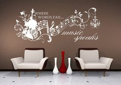 Wall Decals Music Speaks Collage - Vinyl Lettering Text Wall Words Stickers Art - Qxmall.com - #Qxmall #MusicWallDecals #wallarts