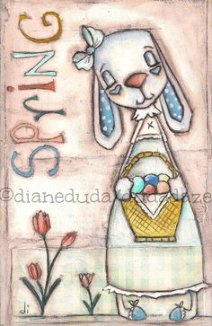 "Original Folk Art Spring/Easter Painting  on wood    ""Sweet Spring Bunny""  ©dianeduda/dudadaze"