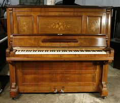 Antique, Bechstein upright piano for sale with a satin, walnut case and inlaid panels