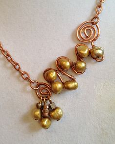 Saltwater Pearl and Copper Necklace by joytoyou41 on Etsy, $35.00