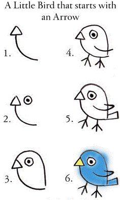 tiere-malen-mit-kindern-dekoking-com Dessin ? Drawing For Kids, Art For Kids, Crafts For Kids, Arts And Crafts, Simple Bird Drawing, Easy Drawings For Kids, Kid Art, Fall Crafts, Directed Drawing