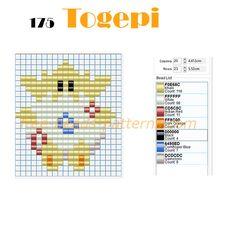 Togepi cute Pokemon free perler beads design download for Hama Beads