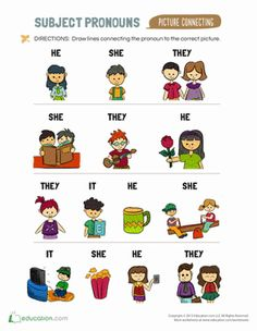 This colorful worksheet features subject pronouns for kids who can use colorful visuals to remember and practice their vocabulary.