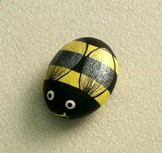 Bumble bee, painted rock, handmade by Rockartiste - This is such a cute idea for the garden that would be fun to do with the babies.