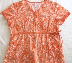 Koi Kathryn Scrub Top XL Orange Peach Coral White Paisley Mock Wrap Scrubs Nurse #Koi