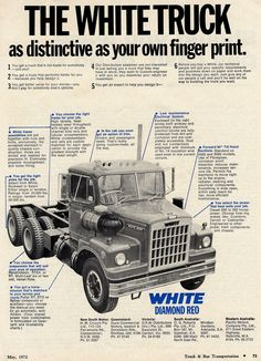 1972 White Diamond Reo Trucks Ad - Australia - http://www.gucciwealth.com/1972-white-diamond-reo-trucks-ad-australia/