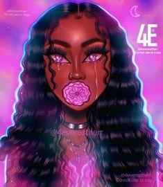 Black Love Art, Black Girl Art, Art Girl, Black Art Painting, Black Artwork, Art Drawings Sketches, Cute Drawings, Realistic Drawings, Drawings Of Black Girls