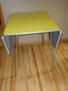 VINTAGE RETRO YELLOW TABLE WITH CHROME LEGS