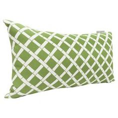 "Indoor/outdoor pillow with a sage bamboo motif.   Product: PillowConstruction Material: Polyester and cotton twillColor: SageFeatures:  Outdoor treated fabricRecycled polyester fiber fill Dimensions:  12"" x 20""  Cleaning and Care: Spot clean"