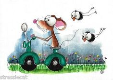 Original Watercolor Painting Whimsical Art Illustration Mouse Crow Green Scooter | eBay