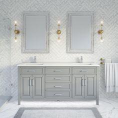 Bathroom Renos, Small Bathroom, Bathroom Remodeling, Modern Bathroom, Grey Bathroom Cabinets, Custom Bathrooms, Gray Bathrooms, Home Depot Bathroom, Oak Bathroom