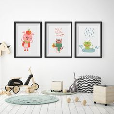 Cute animal poster set.  Personalized Nursery Room Decoration. Ideas for baby rooms…