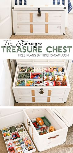 DIY Toy Storage Treasure Chest - Tidbits - - Take a look inside this DIY Toy Storage Treasure Chest. Contain toys and collections functionally and beautifully. Toy Storage Furniture, Furniture Plans, Diy Furniture, Furniture Stores, Furniture Dolly, Luxury Furniture, Baby Toy Storage, Diy Storage, Storage Chest