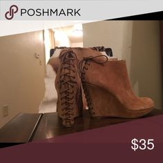 🌹Gianni Bini Wedge Booties🌹 Brown suede Gianni Bini wedge booties. Never Worn! ❌No Trades❌ Gianni Bini Shoes Ankle Boots & Booties