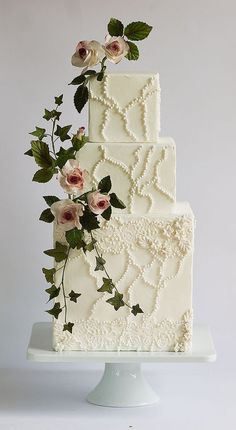 Rose cake — Square Wedding Cakes