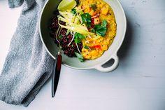 ginger sweet potato dal with black rice and sautéed leeks // via @thefirstmess