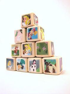 Alice in Wonderland Baby Blocks Nursery Decor & Baby by MiaBooo, $40.00
