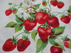 Items similar to VintageTablecloth Bright Strawberry Patch Design on Etsy Strawberry Patch, Strawberry Fields, Strawberry Delight, Strawberry Jam, Strawberry Shortcake, Vintage Tablecloths, Vintage Textiles, Vintage Prints, Al Dente