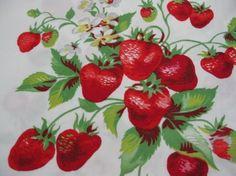 Vintage Wilendur Strawberry Tablecloth