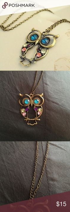 Vintage style owl pendant necklace Vintage style owl pendant necklace. Gold tone with real blue yellow pink and purple stones a very cute and very stylish Jewelry Necklaces