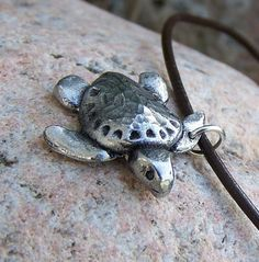 Sea Turtle Necklace hand hammered shell rustic jewelry by KDemARTe, $21.00
