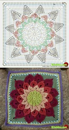 The Ultimate Granny Square Diagrams Collection ⋆ Crochet Ki Crochet Sunflower, Crochet Mandala Pattern, Granny Square Crochet Pattern, Crochet Flower Patterns, Crochet Diagram, Crochet Stitches Patterns, Crochet Chart, Crochet Squares, Crochet Pillow Pattern