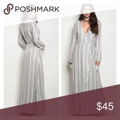 Striped wrap style maxi dress ARRIVING 3/18 Striped wrap style long sleeve maxi dress. Polyester. Partially lined. More photos and measurements will be posted when item arrives. Like listing to be notified of arrival Dresses Maxi