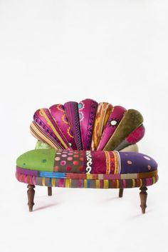 Bokja Peacock Settee via the brilliant handeye website --- OMG ♥ I sooooo want to do my blue chair like this! Funky Furniture, Colorful Furniture, Unique Furniture, Painted Furniture, Furniture Design, Colorful Couch, Deco Boheme, Design Studio, Take A Seat