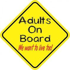 x Adults On Board Magnet Caution Vinyl Truck Bumper Magnets, black Window Stickers, Bumper Stickers, In Case Of Emergency, Black Letter, Magnets, Decals, Boards, How To Apply, Letters