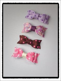 Small double bow hair clip set  Purple and pink by SayYouLove, $15.99