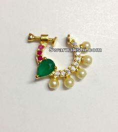 cz nose pin right side collection - Swarnakshi Jewels And Accessories Nose Ring Jewelry, Jewelry Design Earrings, Gold Jewellery Design, Nose Rings, Nose Ring Designs, Rajputi Jewellery, Royal Jewelry, Temple Jewellery, Trendy Jewelry