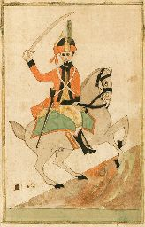 PENNSYLVANIA SCHOOL, 19th century  Fraktur  A Hessian Soldier on Horseback  depicting a soldier astride a rearing horse, the soldier in red and cream uniform with sword raised, the horse with green saddle blanket watercolor on paper