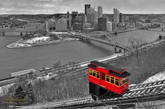 Black and White Pittsburgh Skyline with red Duquesne Incline - PittsburghSkyline.com