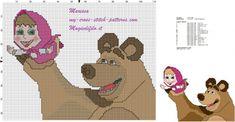 cross stitch pattern free masha and bear