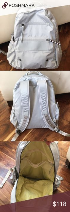 Lululemon Backpack Greyish silver - in excellent shape. No pouch. Price firm on here please. lululemon athletica Bags Backpacks