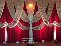 Curtain background - Home Page Wedding Draping, Wedding Reception Backdrop, Wedding Stage Decorations, Backdrop Decorations, Fabric Backdrop, Diy Backdrop, Church Stage Design, Pipe And Drape, Backdrops For Parties