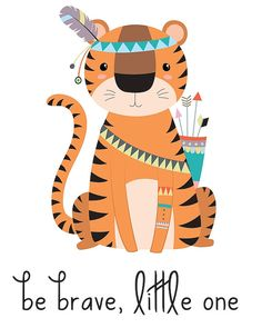 Are you decorating a tribal nursery, wildlife nursery, woodland nursery or animal nursery? This tribal nursery print will be a perfect (and adorable) addition! Tiger Illustration, Poster Print, Kids Poster, Boy Wall Art, Nursery Wall Art, Nursery Decor, Nursery Design, Baby Design, Wall Decor