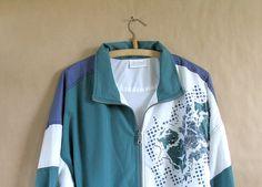 vintage sports jacket in navy teal and lavender by artwardrobe, $22.00