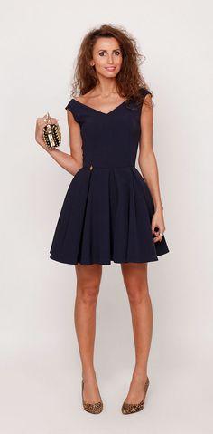 Sukienkowo.pl - Rozkloszowana sukienk granatowa, model LISA