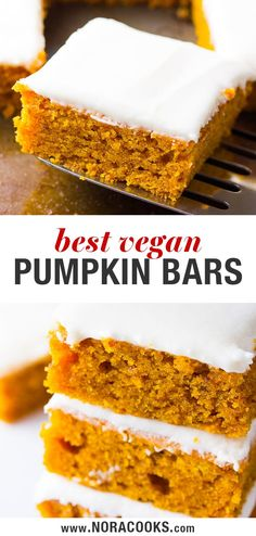 """Vegan Pumpkin Cake Bars are made of fluffy, moist pumpkin sheet cake and topped with a """"cream cheese"""" icing. A Fall tradition! Vegan Sweets, Vegan Desserts, Dessert Recipes, Vegan Cake, Cake Recipes, Vegan Recipes, Health Desserts, Vegan Meals, Vegan Food"""