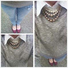 Mix of casual and girly. Gray sweatshirt, white button up, pearls, flats, preppy outfit